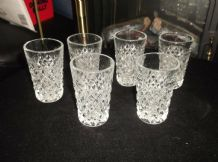 6 X RETRO SMALL THICK HEAVY GLASS TUMBLERS SPIKY DIAMOND CUT LOOK 3.25""